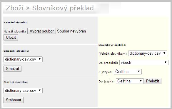 Slovníkový překlad screenshot